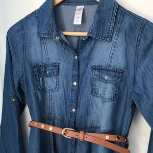 Justice Girl's Denim Dress with Belt Size 14